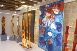 toile de L Isidore et Bambous en verre de A Pierini